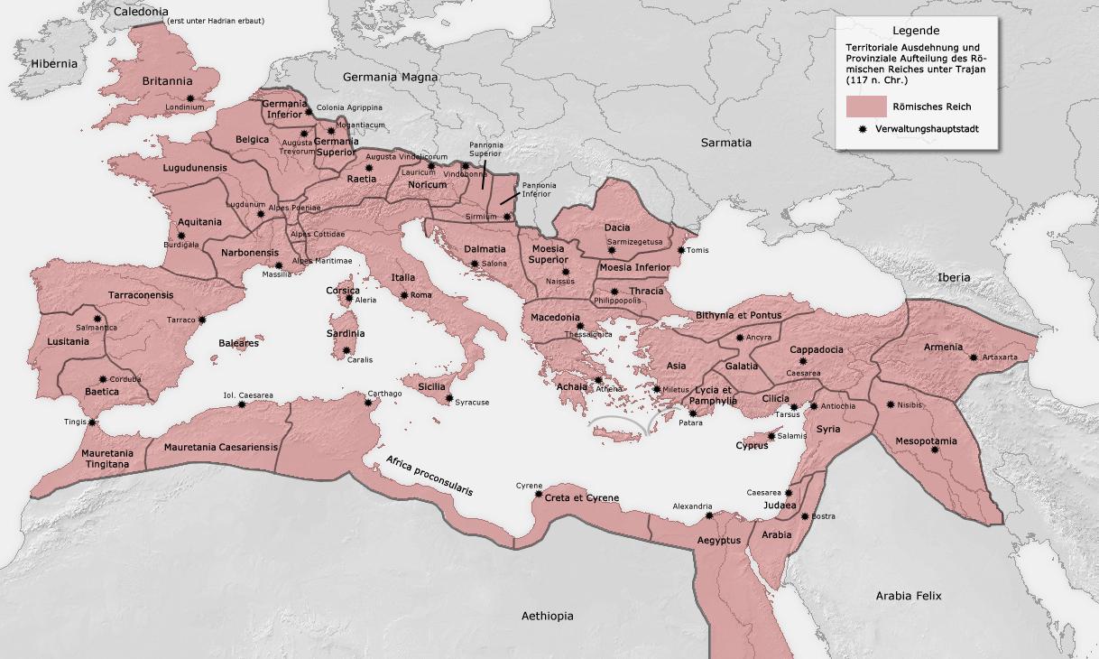 Het Romeinse Rijk op zijn hoogtepunt