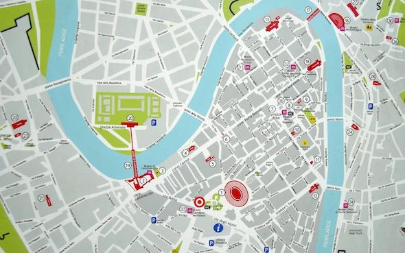 Kaart Verona Italië