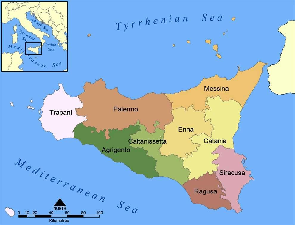 Provincies van Sicilië Kaart