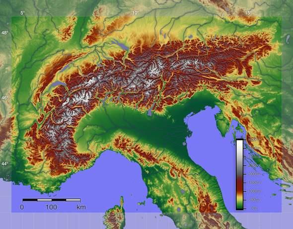 Landschap van Italië: de Alpen in Italië