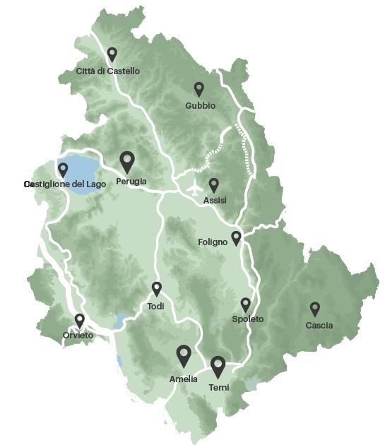 kaart Umbrië Italië