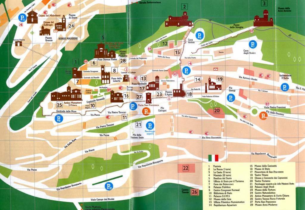 Toeristische kaart van San Marino