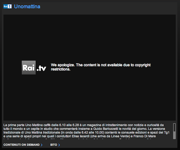 Rai.tv We apologize. The content is not available due to copyright restrictions.