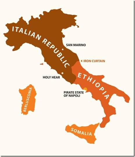 italie kaart met stereotypes