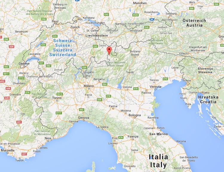 Livigno, op de grens van Zwitserland en Italië (bron: Google Maps)