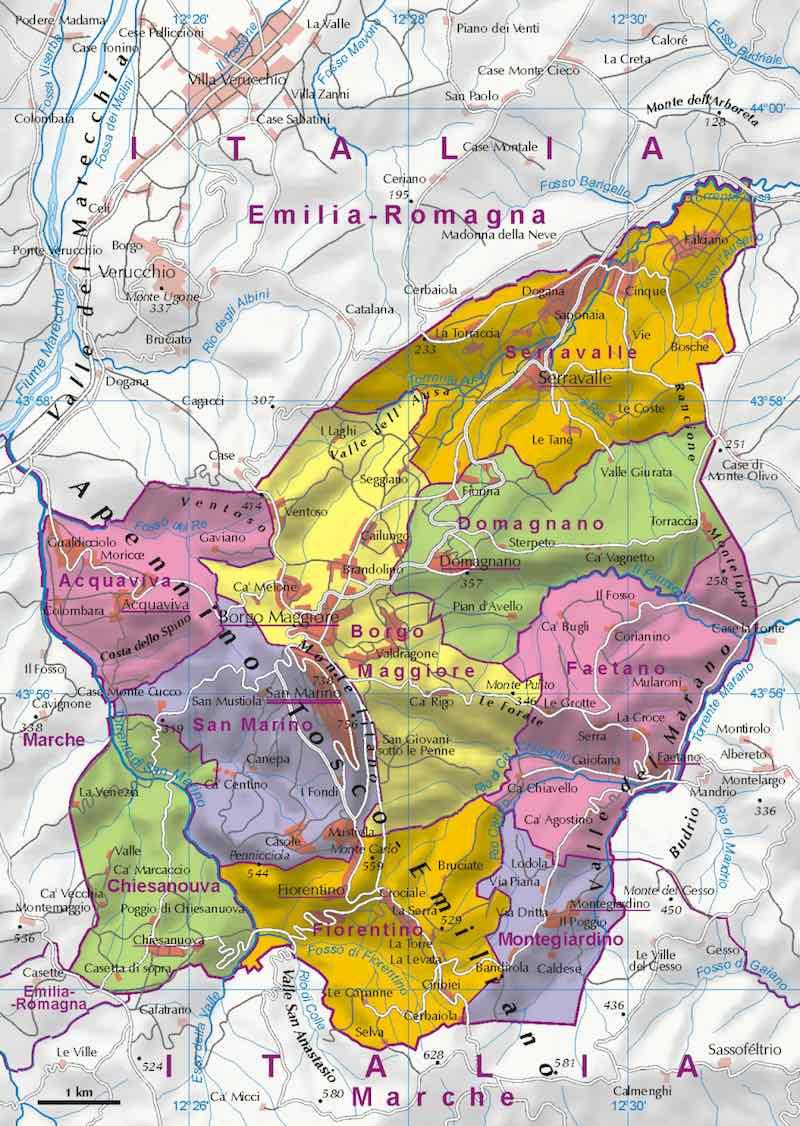 De kaart van San Marino