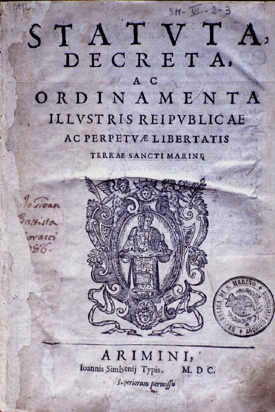 Het voorblad van de oudste grondwet ter wereld: die van San Marino