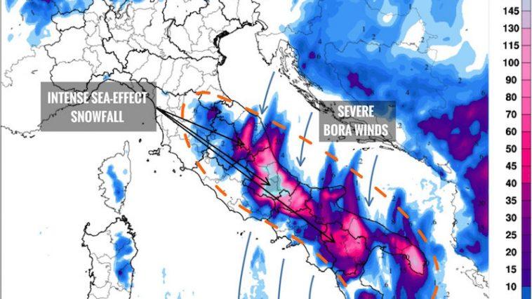 Sneeuw: Italië gaat een lang koud en wit weekend tegemoet