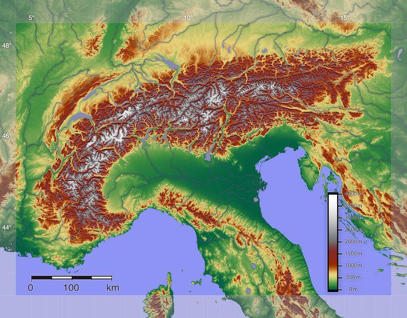 De ligging van de Italiaanse Alpen