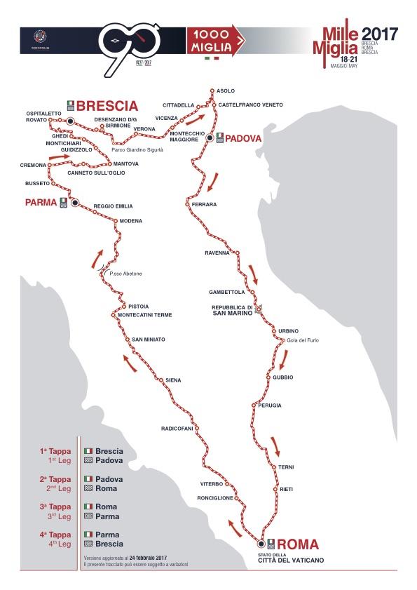 De route van de Mille Miglia editie 2017