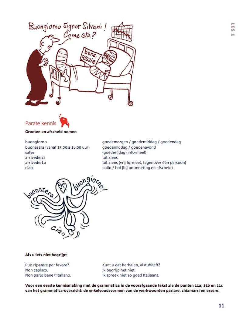 Een bladzijde uit het leerboek Italiaans voor zelfstudie