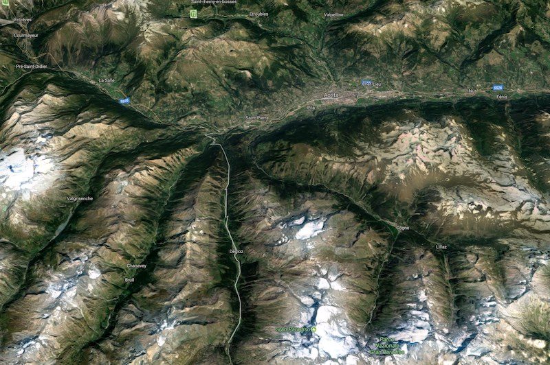 Het imposanta Aostadal vanuit de lucht