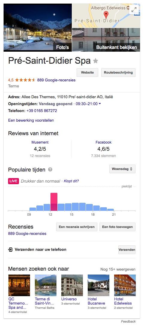 Op Google kun je zien hoe druk het op het moment in de thermen van Pré-Saint-Didier is (bron: Google)