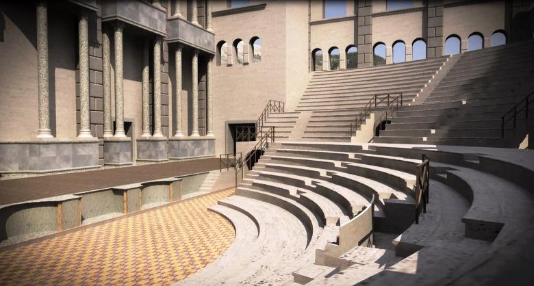 Een virtuele reconstructie van het Romeinse theater in Aosta