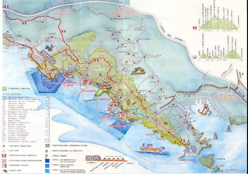 De wandelroutes van de Cinque Terre op een plattegrond