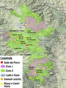 Plattegrond van het Nationaal Park Sila in Calabrië (bron: Wikimedia)