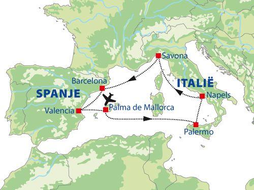 Voorbeeld van een cruise door de westelijke Middellandse Zee