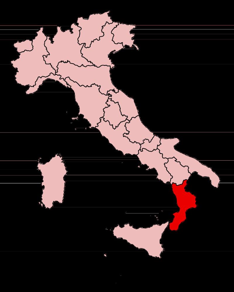 De ligging van de regio Calabrië in Italië