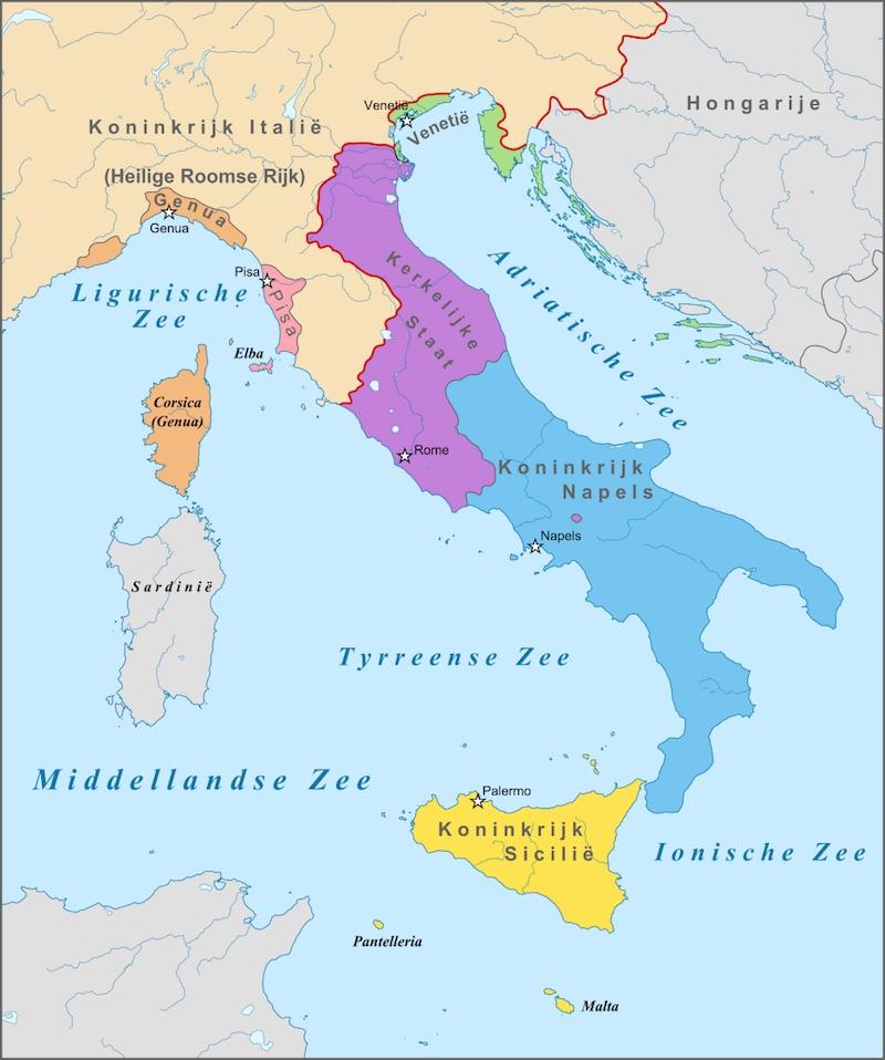 De kaart van Italië in 1328