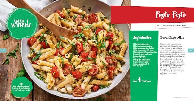 Pasta pesto: een van de Italiaanse recepten in Bella Italia van Sonja Bakker