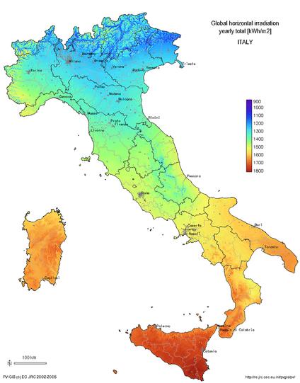 Klimaat van Italië (bron: Wikimedia)