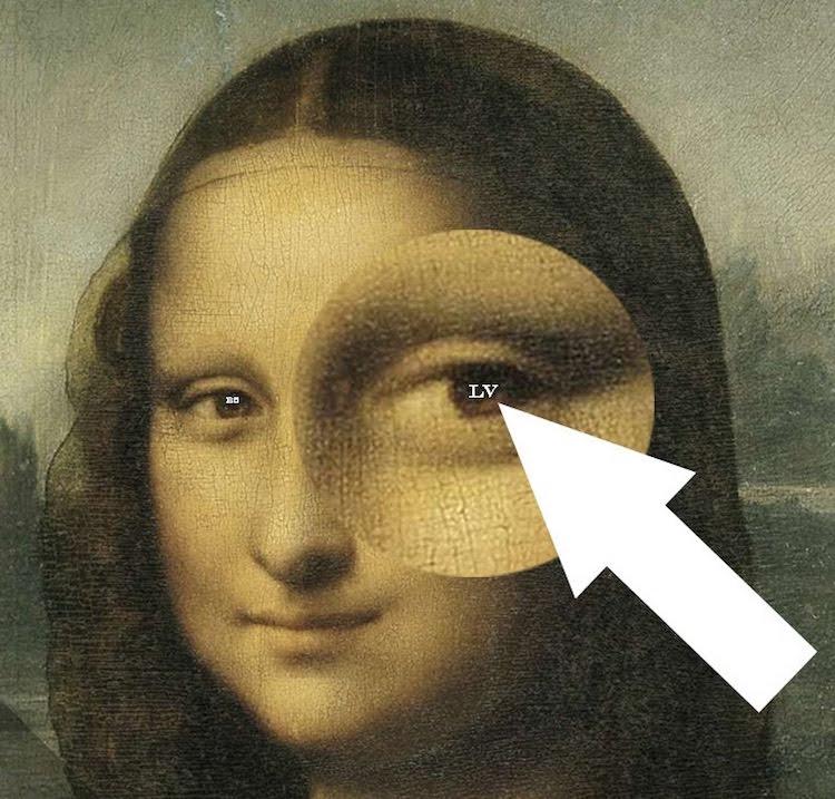 Leonardo da Vinci zette zijn initialen 'LV' in haar rechteroog