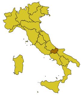 De ligging van Molise in Italië