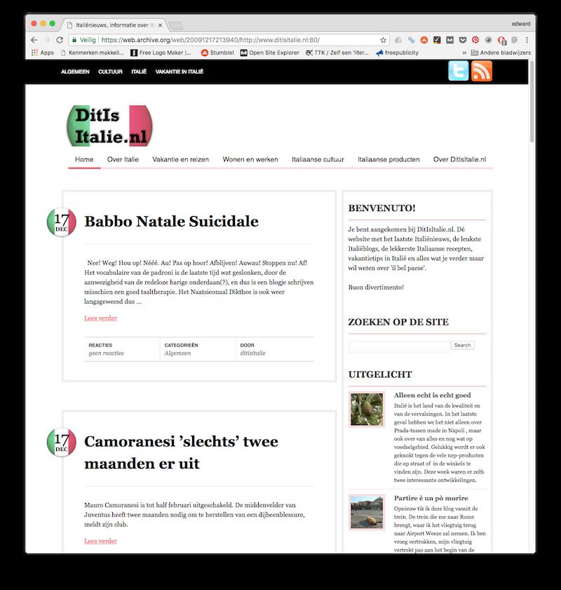 Een vroege versie van mijn reisblog in 2009