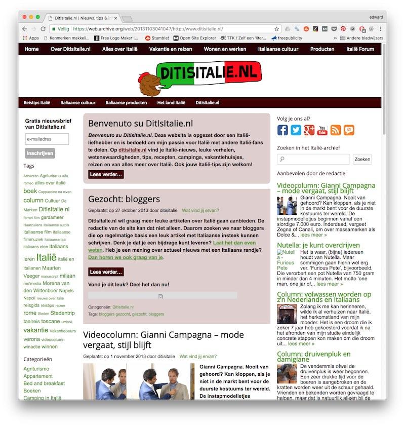 En zo zag DitIsItalie.nl er in 2013 uit