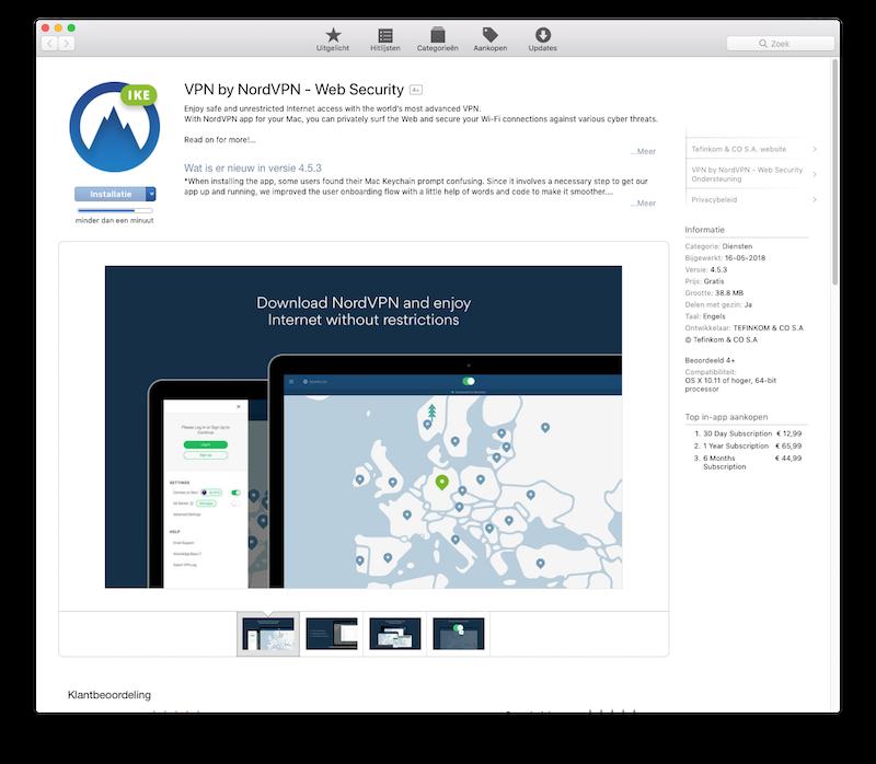De VPN-app van NordVPN in de App Store
