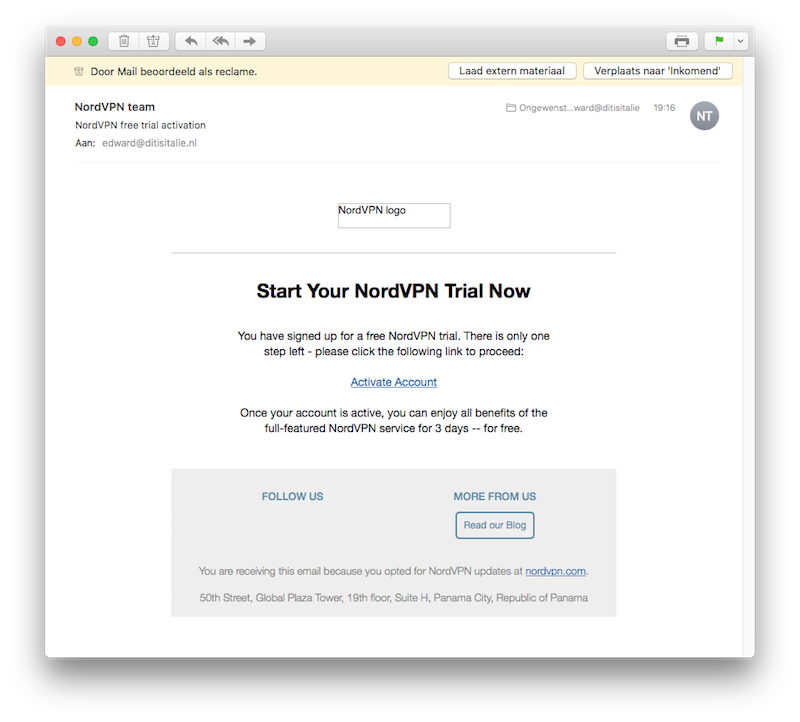 Let op: de e-mail kan in je spambox belanden