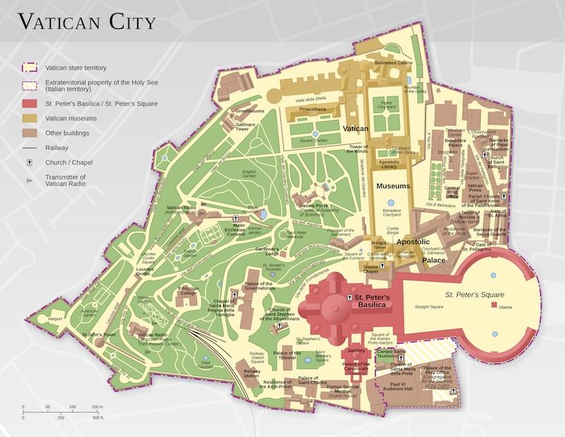 De plattegrond van Vaticaanstad