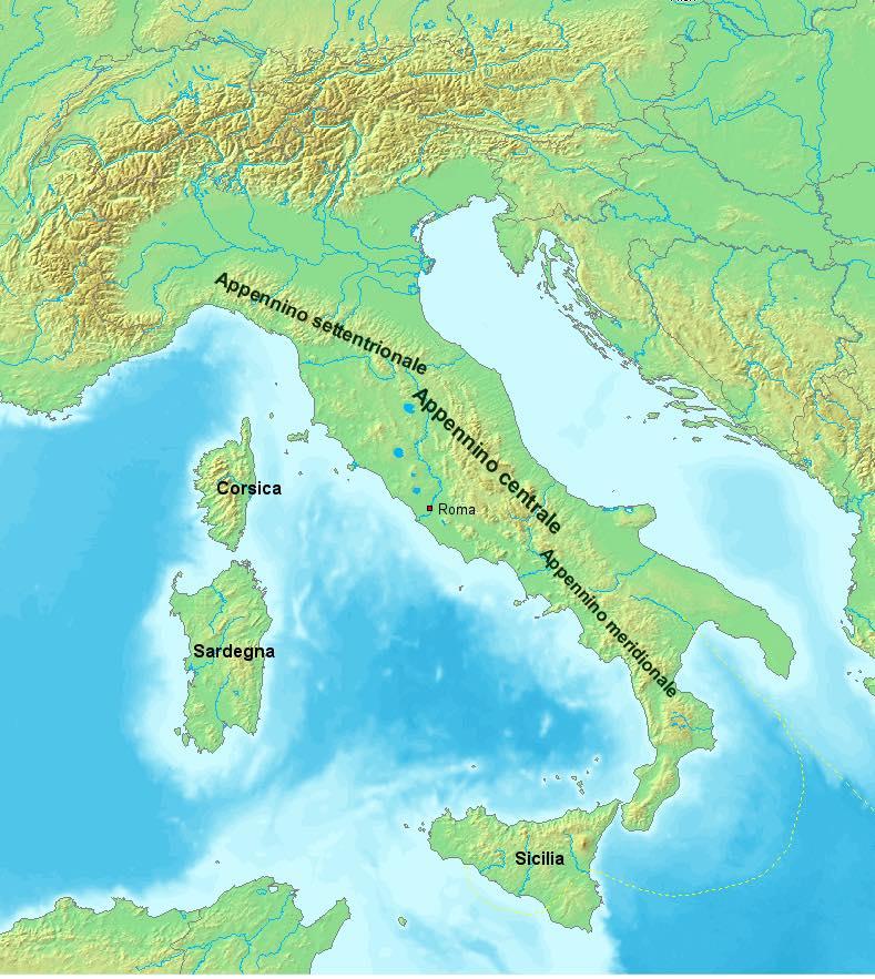 De Apennijnen in Noord-, Midden- en Zuid-Italië