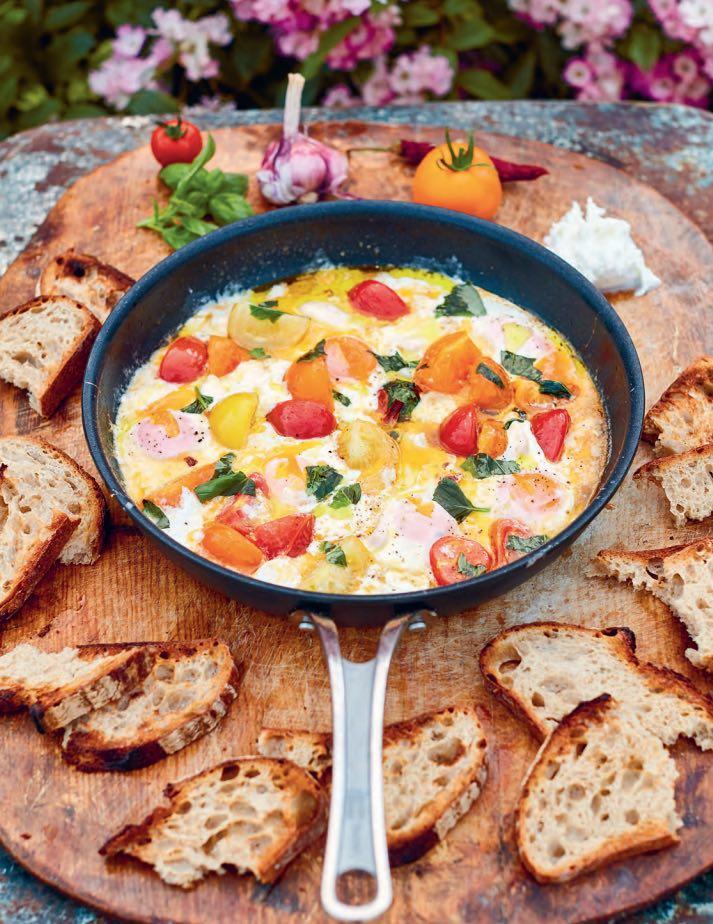 Gebakken eieren met mozzarella