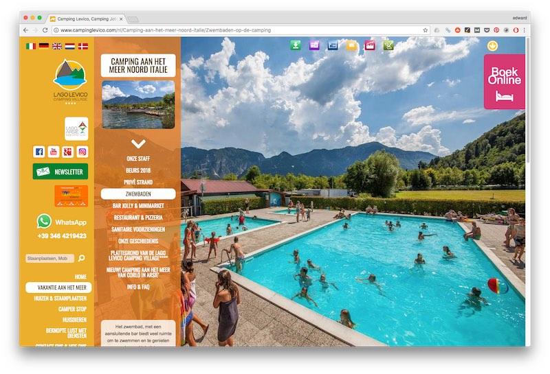 Geen badmutsen op de website van Camping Levico