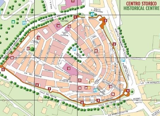 De plattegrond van Corinaldo