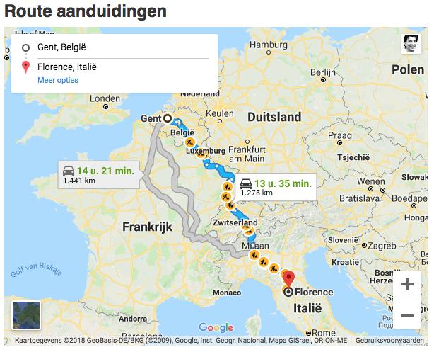 3 mogelijke routes naar Toscane vanuit België