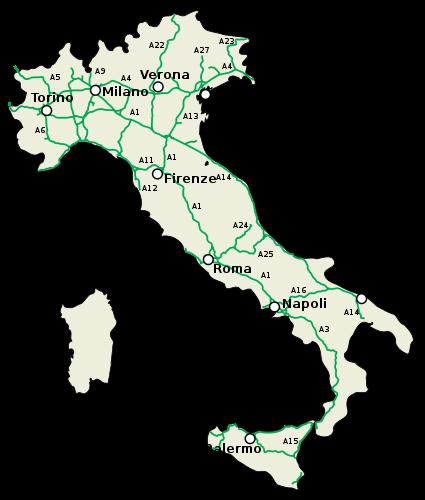 Autosnelwegen in Italië op de kaart