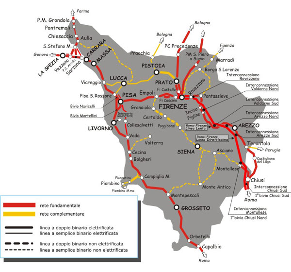 Kaart met treinroutes door Toscane