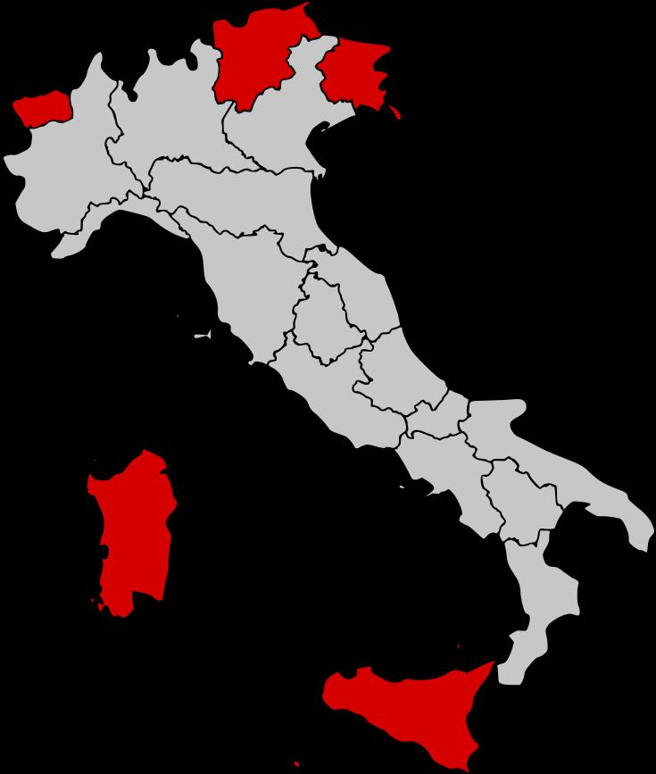 Autonome regio's van Italië op de kaart