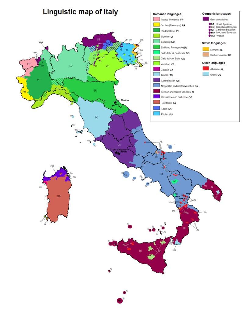 Het gevarieerde taallandschap van Italië
