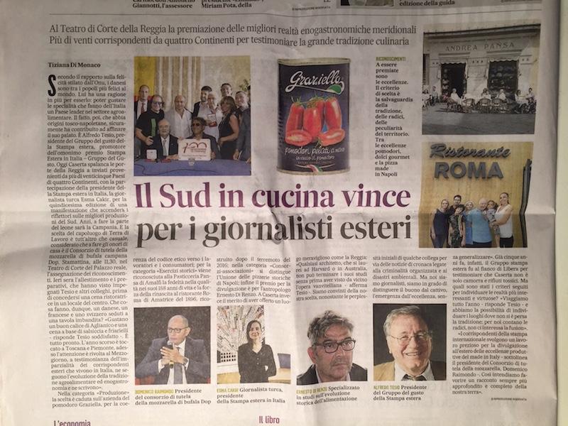 Artikel in regionaal dagblad Il Mattino van 17 november 2018