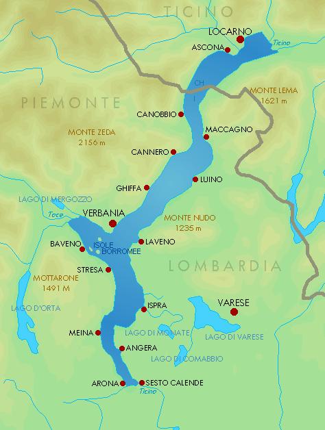 De ligging van het Lago Maggiore in Piëmont, Italië en Ticino, Zwitserland