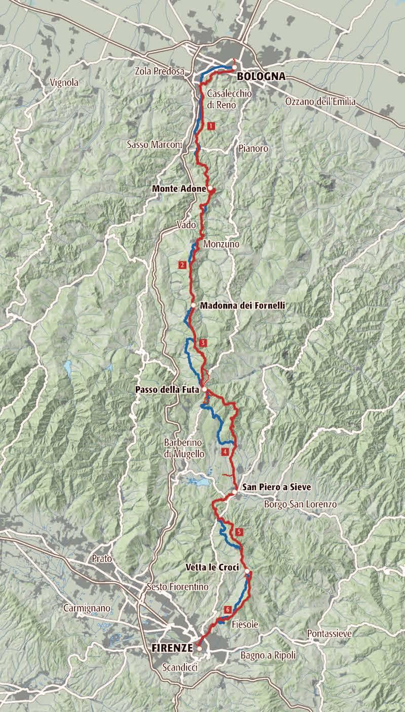 De route van de Weg der Goden van Bologna naar Florence