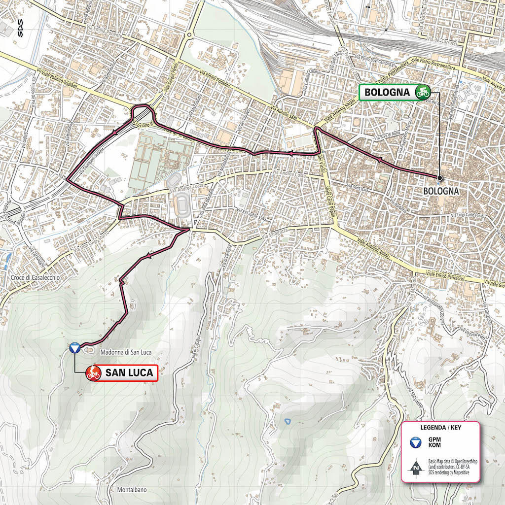 Route Grande Partenza 2019 in Bologna