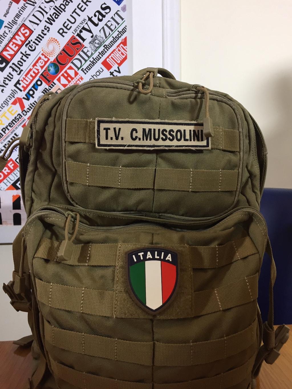 De legerrugzak van Caio Mussolini