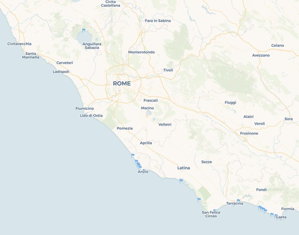Schoonste stranden Lazio Latium