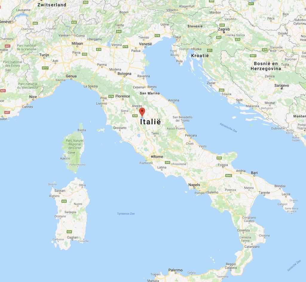 Ligging Trasimeense Meer in Italië