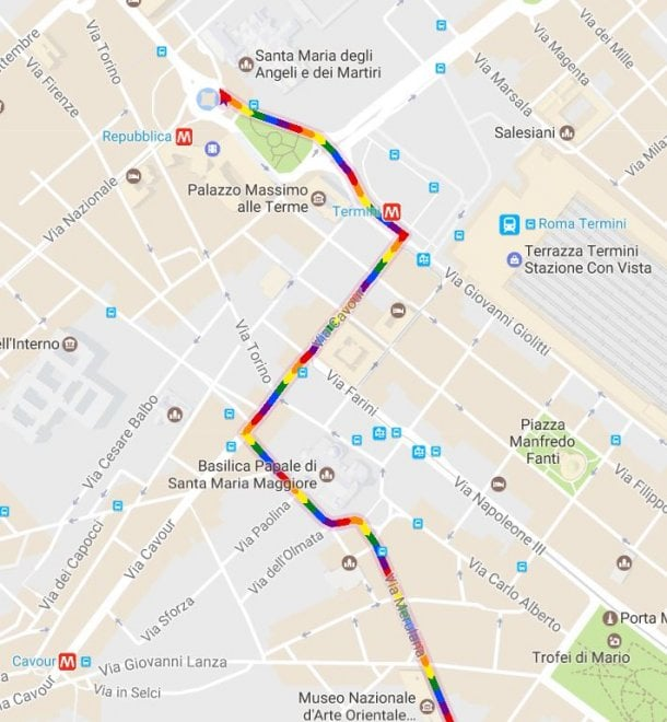 Route Gay Pride Rome 2019 Google Maps