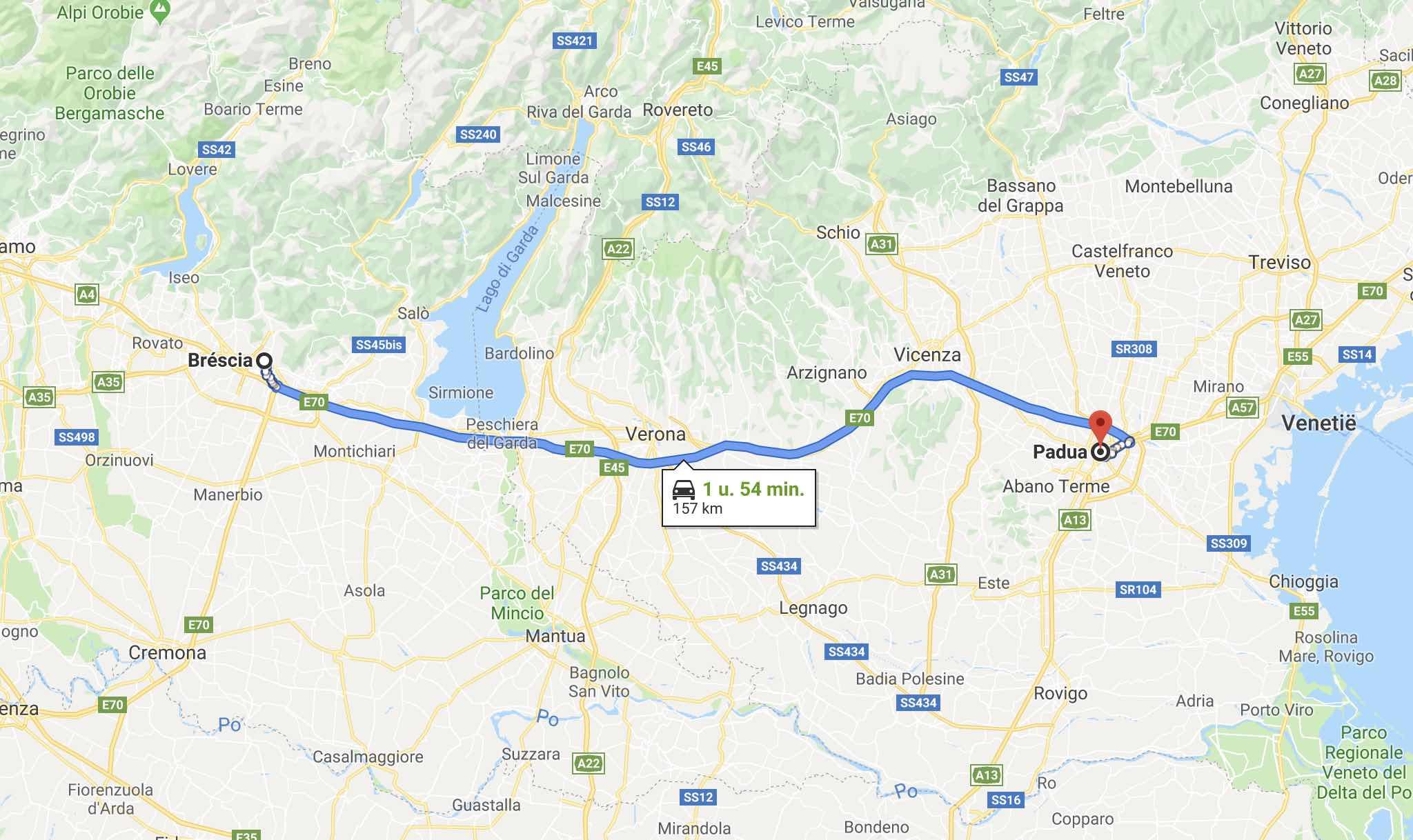 A4 van Brescia naar Padua
